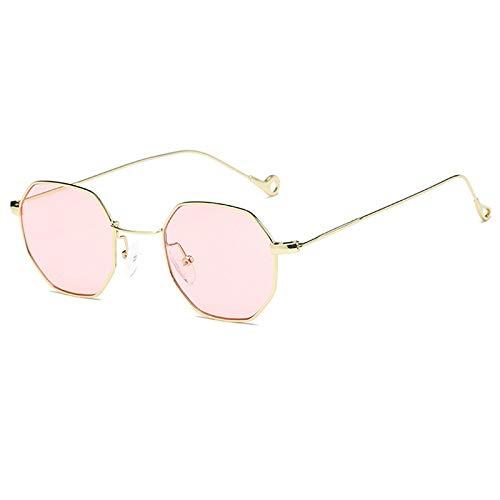 XZANTE Damen Sechskant Sonnenbrille Retro Vintage Transparente Sonnenbrille Herren Metall Brille Achteckige Schatten Lunette (Rosa)