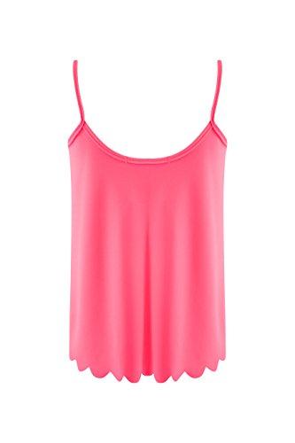 Damen Wave Schnitt Crop Top Damen Plain Neon Farben Sommer Casual Ärmellos - Neon pink