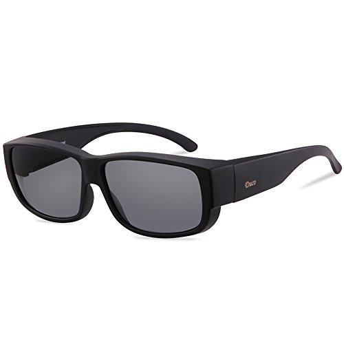 Duco Unisex Korrekturbrille RX Brille polarisierte Sonnenbrillen Überziehbrille Fit-Over Brille 8956 (Schwarzer Rahmen Grau Linse)