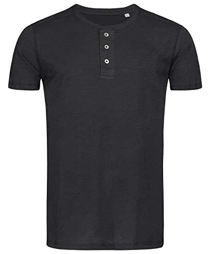Stedman Original Premium Henley-T-Shirt mit Knöpfen für Herren; Aus Weichem Flamm-Garn (Slub-Garn), Black Opal, L