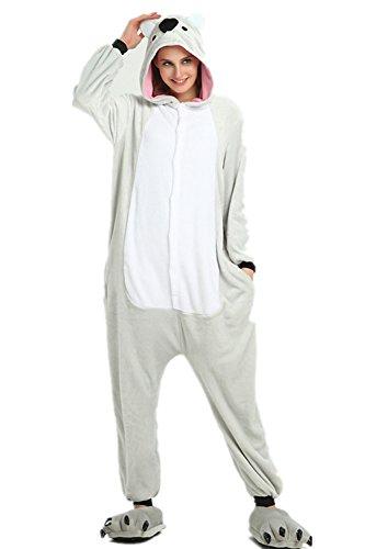 VineCrown Damen Schlafanzug Tier Pyjamas Overall Cosplay Strampelanzüge Nachthemden Kleid Karikatur Neuheit Jumpsuit Kostüme für Erwachsene Kinder Weihnachten Karneval (M for 160CM-168CM, Koala)