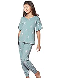 Night Suit for Girls - Blue Color - Sinker Material - Printed Top and Pyjama Set - Half Sleeves Top - Available for 8/10/12/14 Year Old Girls - Casual wear for Kids