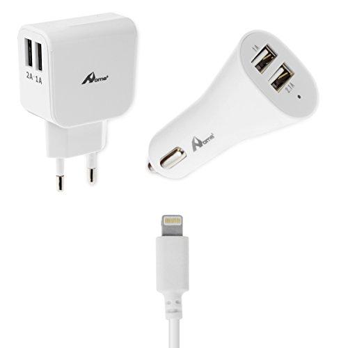 OME - Cargador red y cargador coche con cable de datos Lightning para iPhone 5S/5SE/6S/6S plus, iPad Mini, iPad Air/aAir 2, iPad Pro Block