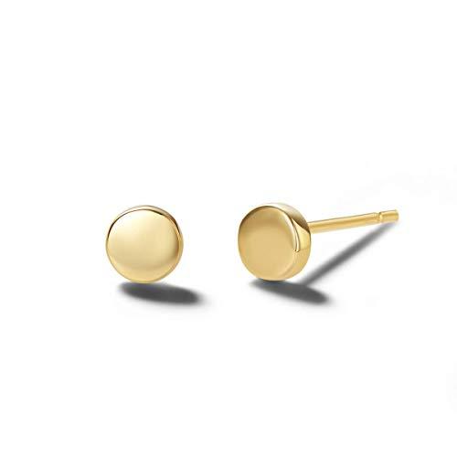 14 Karat 585 Gold Ohrringe Ohrstecker, Mini Runde Ohrringe, Durchmesser 4 mm, Gewicht: 0,4 Gramm