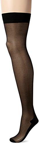 Sheer Thigh High Strümpfe (Starline Damen Sheer Cuban Heel Thigh-highs Strümpfe, schwarz, Einheitsgröße)