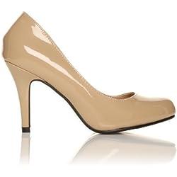 ShuWish UK , Damen Pumps Beige Hautfarben - Nude Patent - Beige (Nude), Sintetico, 6 UK / 39 EU