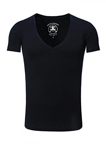 Akito Tanaka Herren Uni Basic T-Shirt mit extra tiefem V-Ausschnitt deep V-Neck einfarbig , Grösse:XL;Farbe:Dunkelblau