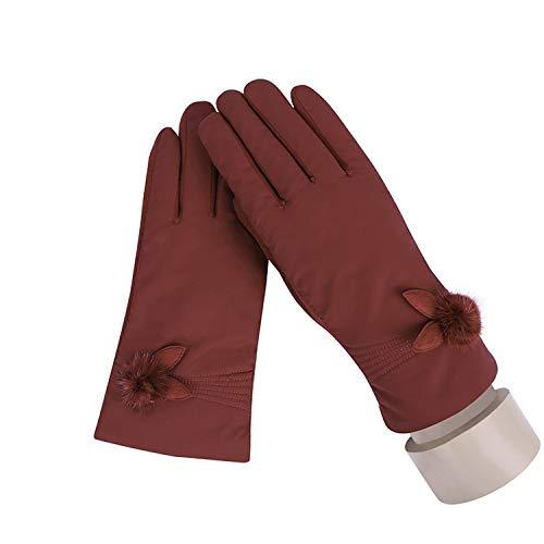 Small-shop-gloves Damen Winter-Handschuhe, weiches Plüsch-Innenfutter, warm, Winddicht, Blumen-Design, für Outdoor-Sportarten mit Touchscreen, 27E, Damen, B Red, oneszie