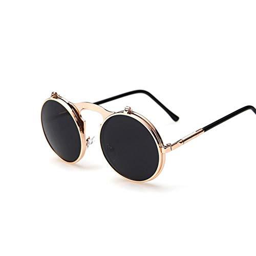 Liuao Steampunk Männliche Sonnenbrille Runde Designer Steam Punk Metall Frauen Beschichtung Männer Sonnenbrille,CopperGray