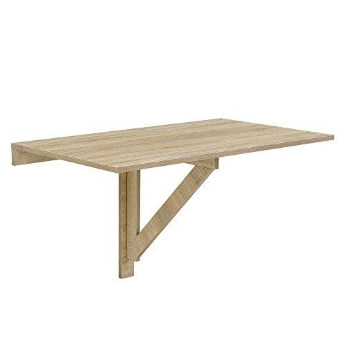 [en.casa]®] Mesa Montada en la Pared - Abatible Plegable Mesa de Cocina Escritorio 100 x 60 x 58 cm Color Efecto de Madera de Haya