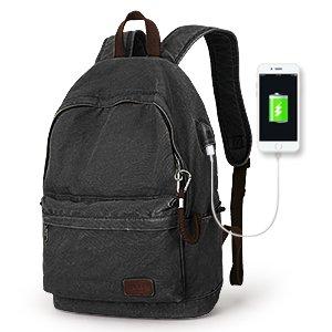 Muzee Canvas Rucksack Leichter Anti-Diebstahl-Reise-Rucksack mit USB-Ladeanschluss für Männer Damen,für 15,6 Zoll Laptoprucksack