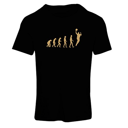Frauen T-Shirt Evolution Basketball - Street Basket, ich Liebe Dieses Spiel, tolles Fan-Geschenk (Small Schwarz Gold)