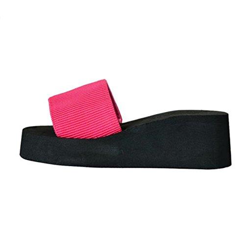 Elecenty Sommerschuh Hausschuhe Damen Schuh,Peep-Toe Keilabsatz Mädchen Bequem Schuhe Slipper Plattform Shoes Strandschuhe Frauen Sandalen Offene Damenschuhe Abendschuhe (37, Rot)