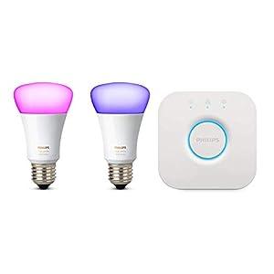 Philips Hue White und Color Ambiance E27 LED Lampe Starter Set, zwei Lampen 4. Generation, dimmbar, steuerbar via App, kompatibel mit Amazon Alexa (Echo, Echo Dot)