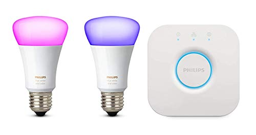 Philips Hue White und Color Ambiance E27 LED Lampe Starter Set, zwei Lampen 4. Generation, dimmbar, steuerbar via App, kompatibel mit Amazon Alexa (Echo, Echo Dot) -