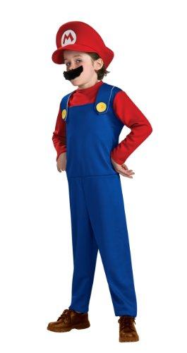Kostüm Mario Kleinkind Super - Super Mario Kostüm Kleinkind 1-2 Jahre, Overall, Mütze und Schnurrbart.