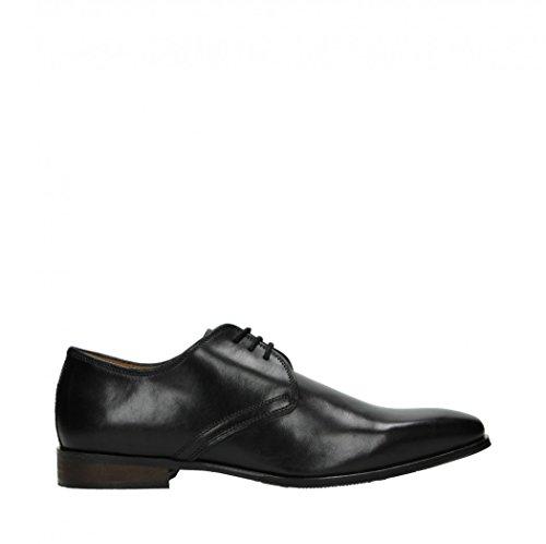Fitters Footwear Cafe Moda Herren Schuh Glatt Leder Business Schnürer Schwarz