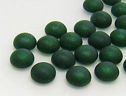 Hobby-Time Cabochons | Glasnuggets | Schmucksteine | Rund, 6.0mm, Smoked Emerald Frosted, 100 Stück