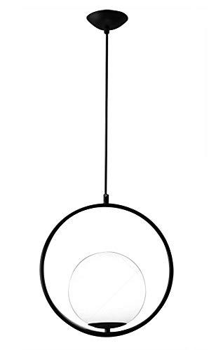 YOZYX LED Pendelleuchte Glaskugel Kleine Hängeleuchten Kreative Nacht Dekoration Beleuchtung E27 Study Veranda Schlafzimmer Wohnzimmer-black-30 * 30CM - Die 3 Hellen, Rustikalen Kronleuchter