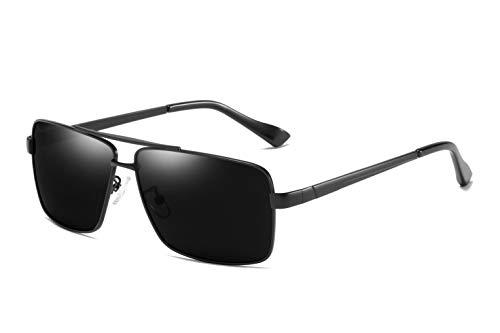jinyuebrand 2019 Neue Ware Premium Sonnenbrille Retro Square Rechteckige Gestell Polarisierte Gläser 100% UV Schutz (Schwarz)