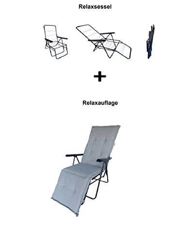 Balke Relaxsessel inklusive Auflage Fulda Rips 53 Silber, 5-Fach verstellbar, 170 x 50 x 6 cm