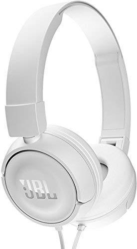 JBL T450 On-Ear Kopfhörer in Weiß - Ohraufliegende, kabelgebundene Ohrhörer mit 1-Tasten-Fernbedienung und integriertem Mikrofon - Musik hören und Telefonieren unterwegs Over-ear Hands Free-headset