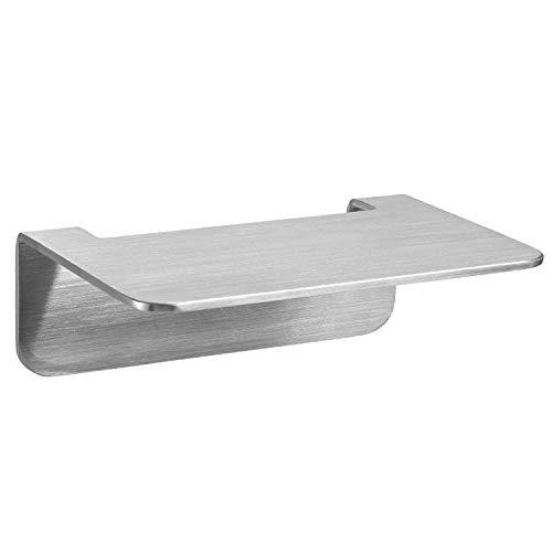 WEISSENSTEIN Badablage ohne Bohren aus Edelstahl - selbstklebende Ablage fürs Bad - 14 x 9,5 x 5 cm -