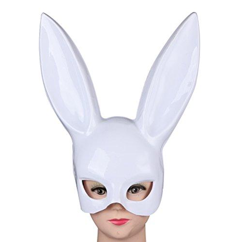 Toyvian halbes Gesicht Kaninchen Ohr Maske Hase Kaninchen Ohr Maske für Weihnachtsfeier Kostüm Cosplay Zubehör (Bright White)