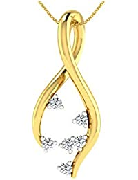 Glitterati By Asmi 14KT Yellow Gold And Diamond Pendant For Women