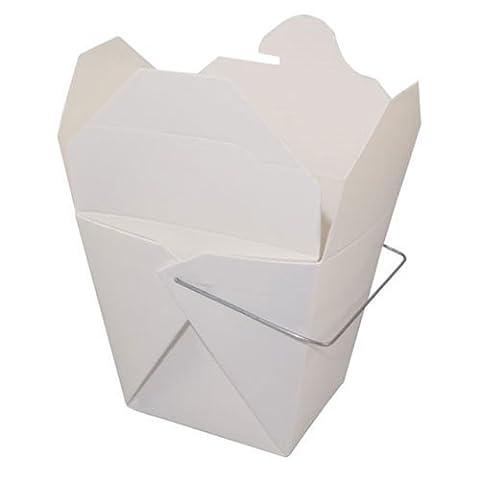 Chinese Quart Take Out Box WHITE 32 oz, PACK of 50 w/ FDL Party Picks by Fold Pak