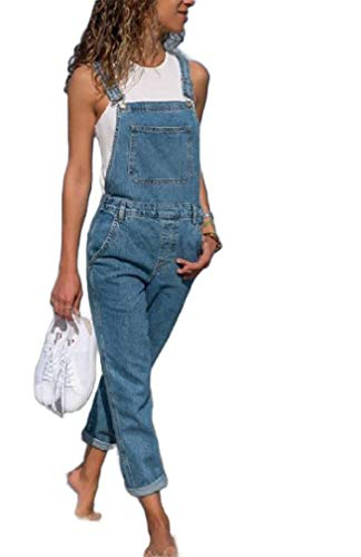VITryst Womens Slim Fit Jeans Denim Straight-Fit Overalls Plus-Size Bib Pants Blue XS