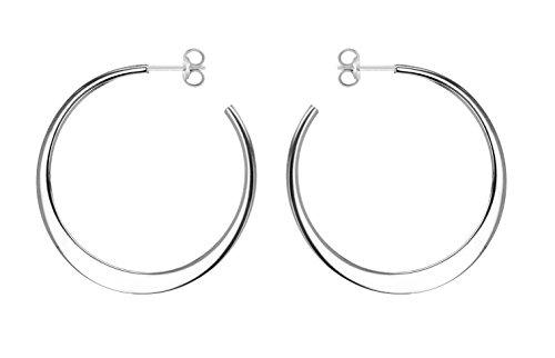 Tuscany Silver Damen Sterling Silber 35mm Flach Hoop Ohrringe 8.53.0999