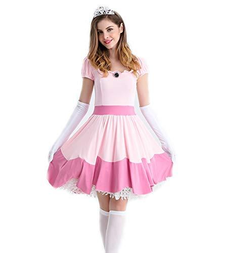CMFashion Prinzessin Peach Kleid Damen Kostüm Größe S-M 36-38 - Mario Kleid
