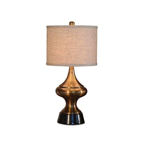 Lámpara de mesa, lámpara de noche de metal, pantalla de tela de estilo americano clásico, para decorar la sala de estar Dormitorio Comedor 002 Lámpara de pie (Color : Cinnamon)
