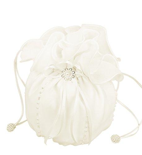 Flora Flora Chiffon Girl Communion Dolly Bag/Bridesmaid Bridal Handbag,beads (Elfenbein)