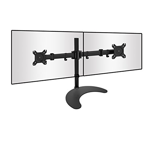 Duronic Steel DM25D2 Double Twin LCD LED Freestanding Desk Mount Monitor Arm Stand Bracket with Tilt and Swivel + 10 Year Warranty - (Adjustable Monitor Arm: Tilt ±45°|Swivel 180°|Rotate 360°)