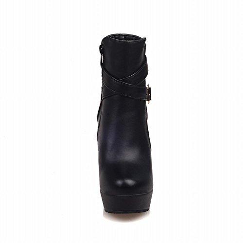 Mee Shoes Damen high heels Plateau runde Reißverschluss Ankle Boots Schwarz