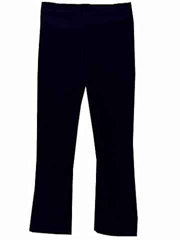 Girls Elasticated Waist Pull Up School Trousers, Pull On Stretch Rib Trousers (7-8 years, Navy Blue)