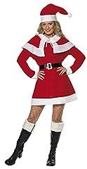 Idea Regalo - SMIFFYS Smiffy's 24506L - La Sig.Na Santa Pile Costume con Abito da Cape Belt & Cappello, Rosso, L