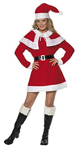 SMIFFYS Costume Miss Santa con mantello, Rosso, con abito, cappa, cintura e cappello