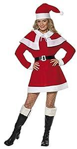 Smiffys-24506L Disfraz de Forro Polar de Miss Santa, con Vestido, Capa, cinturón y Gorro, Color Rojo, L-EU Tamaño 44-46 (Smiffy