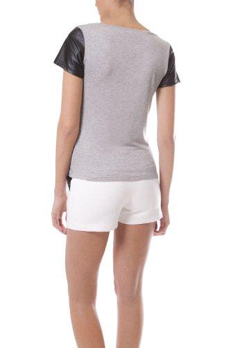 Q2 Women's Detailansicht Halskette Kombination T-Shirt Schwarz