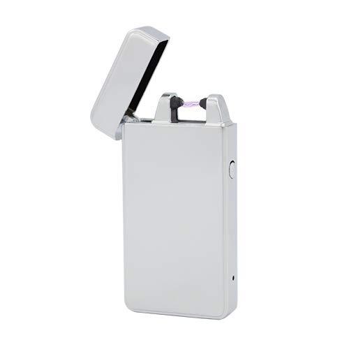TESLA Lighter T01 | Lichtbogen Feuerzeug, Plasma Single-Arc, elektronisch wiederaufladbar, aufladbar mit Strom per USB, ohne Gas und Benzin, mit Ladekabel, in Edler Geschenkverpackung, Silber