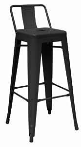 Premier Housewares Metal Powder Coated Chair, 94 x 44 x 44 cm - Black, Set of 4