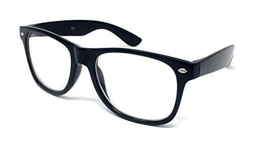 Clear Lens Wayfarer Stil Fancy Kleid Gläser–Geek Nerd Retro Hipster Sexy Schulmädchen Outfit Vintage schwarz Einheitsgröße (Sexy Geek Kostüme)