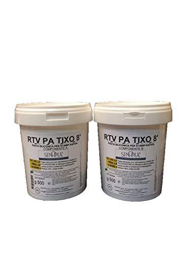 GOMMA SILICONICA PLASMABILE RTV PA TIXO 8' - conf. 1 Kg (500 g + 500 g)