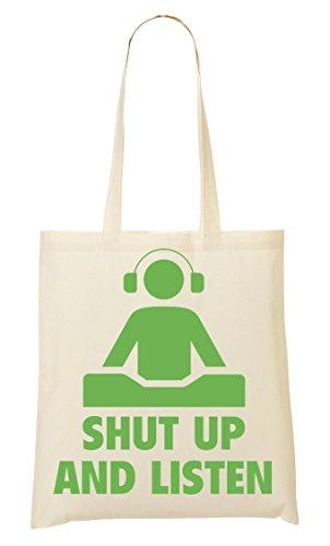 Shut Up Listen Dj Fashioned Artwork Tragetasche Einkaufstasche