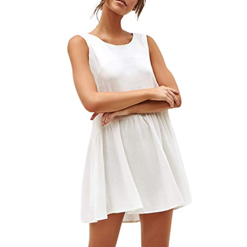 Zegeey Damen Kleid äRmellos Solide Halther Rundhals Chiffon Mini Sommer Strandkleid Schwarz Weiß ()