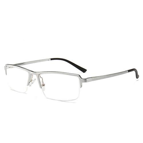 Chengduaijoer Geschäftshalbrahmenbrillenrahmen einfache quadratische Brillen Nicht verschreibungspflichtige Gläser für Frauenmänner (Color : Silver)