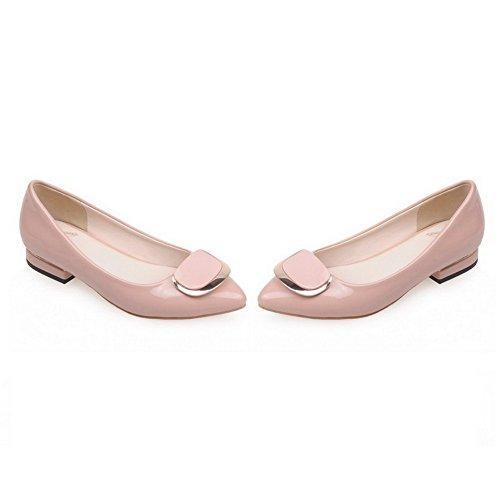 VogueZone009 Femme Tire Pointu Fermeture D'Orteil à Talon Bas Verni Couleur Unie Chaussures Légeres Rose